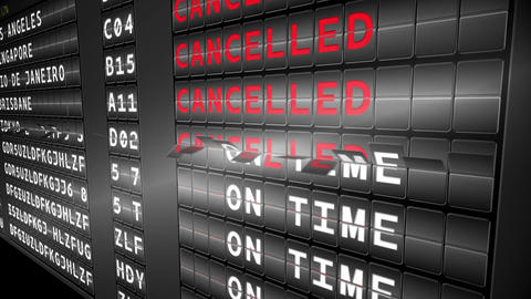 Departures board for turning to cancelled Animation