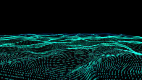 Abstract green technology landscape of binary code on black Animation