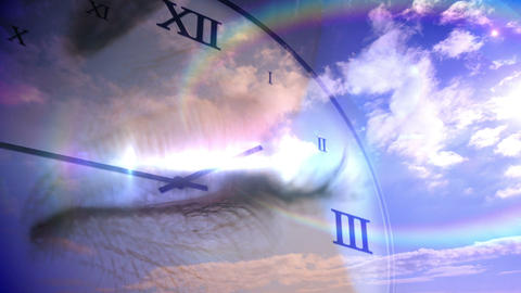 Time passing concept with eye and blue sky Animation