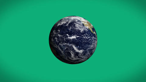Earth spinning on green background Animation