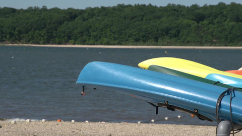 Kayaks at rest Footage