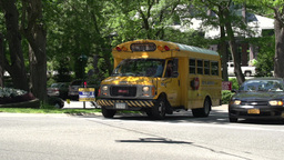 Small school bus stopped at light (2 of 2), Live Action