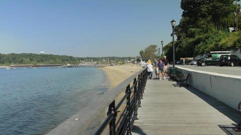Older couple walking on pier Footage