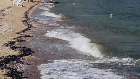Waves crashing at shoreline (2 of 2) Footage