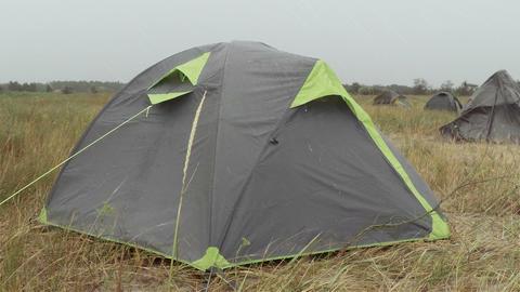 Tourist Tent and Rain Footage