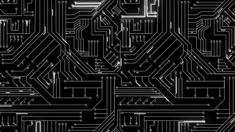 White lines moving through circuit board Animation