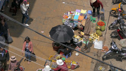 DA LAT, VIETNAM - May 2015: Street view of Da Lat Market from above Footage