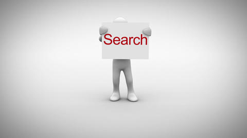 White character holding sign saying search Animation