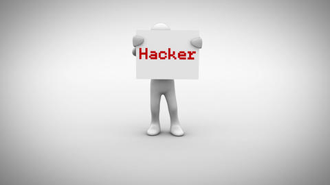 White character holding sign saying hacker Animation