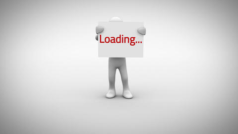 White character holding sign saying loading Animation