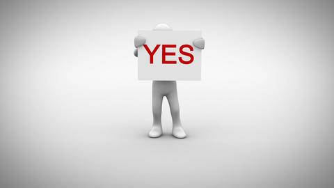 White character holding sign saying yes Animation