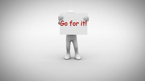 White character holding sign saying go for it Animation