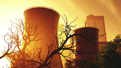 Nuclear Factory and Towers 03 sunset Stock Video Footage