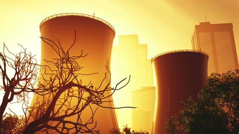 Nuclear Factory and Towers 03 sunset Animation