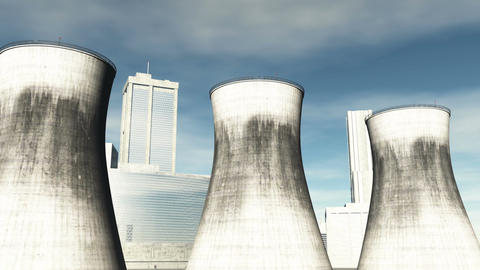 Nuclear Factory and Towers 05 Stock Video Footage