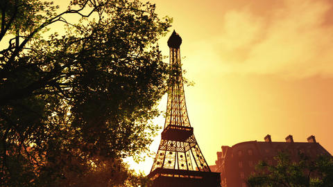 Sunset in Paris 02 Stock Video Footage
