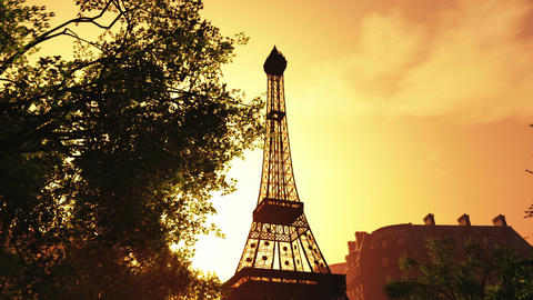 Sunset in Paris 02 Stock Video Footage