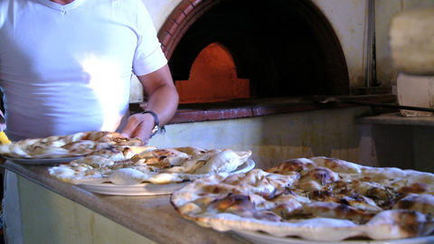 Cutting pizza in italy Stock Video Footage