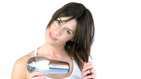 woman blow dry her hair zoom out Stock Video Footage