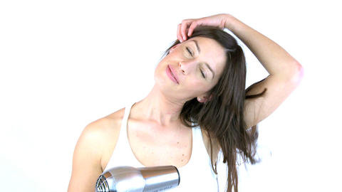 woman brushing and cutting her hair Stock Video Footage