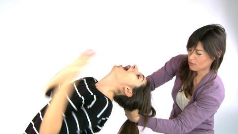 Girl pulling very long hair Stock Video Footage