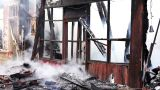 Fire In Wooden House stock footage