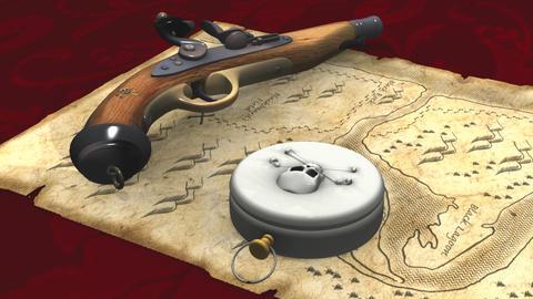 海賊地図とコンパス Stock Video Footage