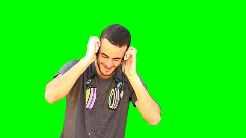 Green Screen man Dance dancer dancing music headphones... Stock Video Footage