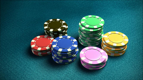 Casino 6 of chips blue table Stock Video Footage
