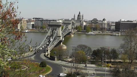 Chain Bridge Danube Pest View Budapest Hungary 01 Footage