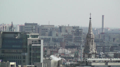 European City Rooftops View 01 Stock Video Footage