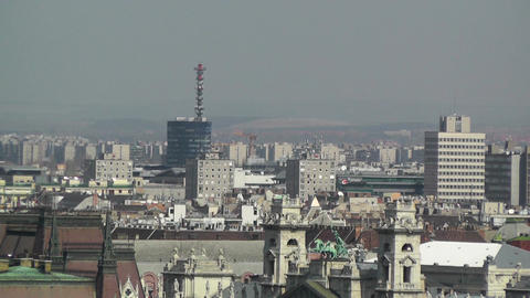 European City Rooftops View 03 Stock Video Footage