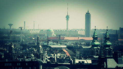 European City Rooftops View 11 stylized Stock Video Footage