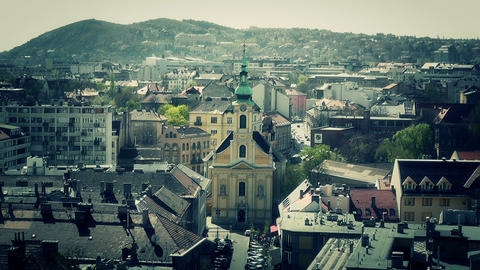 European City Rooftops View 15 stylized Stock Video Footage