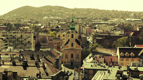 European City Rooftops View 20 stylized Stock Video Footage