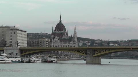 Hungarian Parliament and Margaret Bridge Stock Video Footage