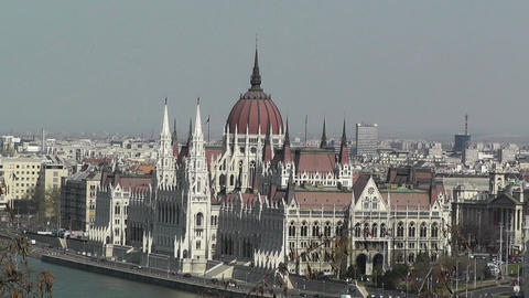 Hungarian Parliament Budapest Hungary 06 Stock Video Footage