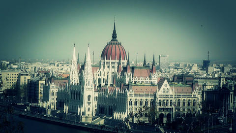 Hungarian Parliament Budapest Hungary 12 stylized Stock Video Footage