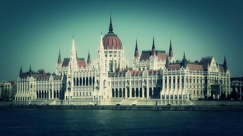 Hungarian Parliament Budapest Hungary 14 stylized Stock Video Footage