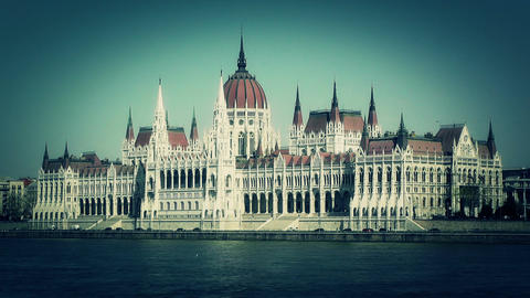 Hungarian Parliament Budapest Hungary 14 stylized Stock Video Footage