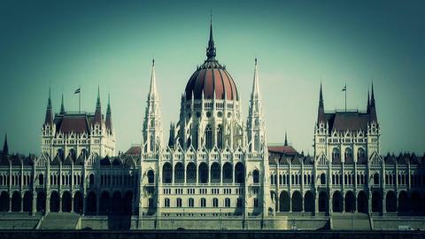 Hungarian Parliament Budapest Hungary 16 stylized Stock Video Footage