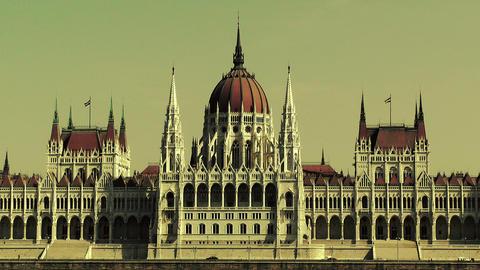 Hungarian Parliament Budapest Hungary 22 stylized Stock Video Footage