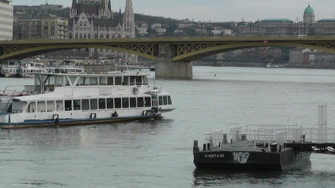 Ship on Danube Budapest Hungary 60 fps native slowmotion Stock Video Footage