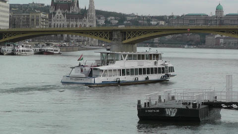 Ship on Danube Budapest Hungary 60 fps native slowmotion Footage