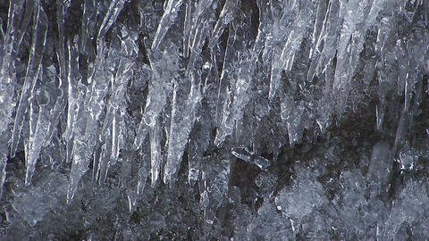 Waterfall and ice pillars in Aomori,Japan_2 Stock Video Footage