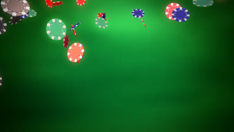 Casino color chips dropping slope green Stock Video Footage