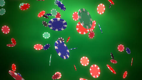 Casino color chips dropping slope green Animation