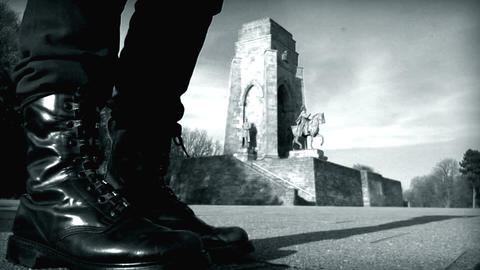 10679 nazi boots jump emperor monument historic Stock Video Footage