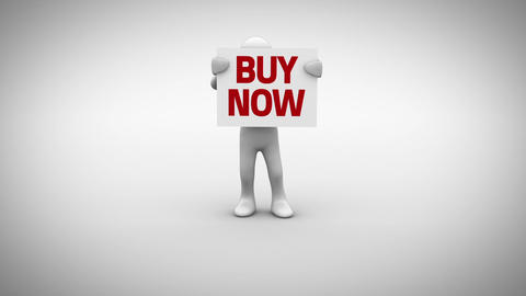 White character holding sign saying buy now Animation