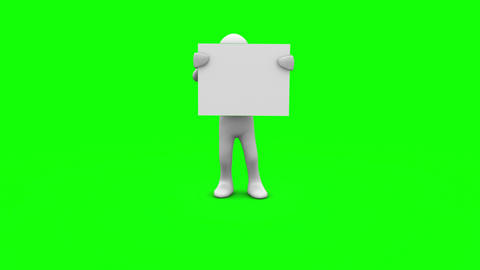 Character holding white sign on green screen Animation